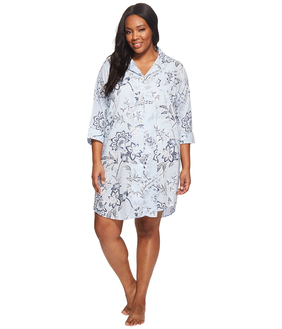 LAUREN Ralph Lauren - Plus Size 3/4 Sleeve Classic Notch Collar Sleepshirt (Blue Ground Floral) Women's Pajama