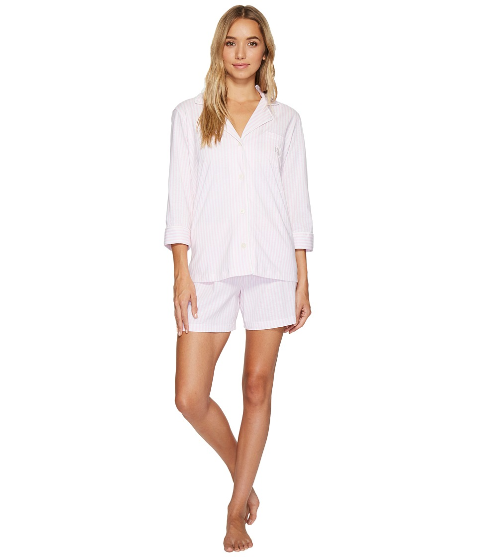 LAUREN Ralph Lauren - 3/4 Sleeve Notch Collar Boxer PJ Set (Pink/White Stripe) Women's Pajama Sets