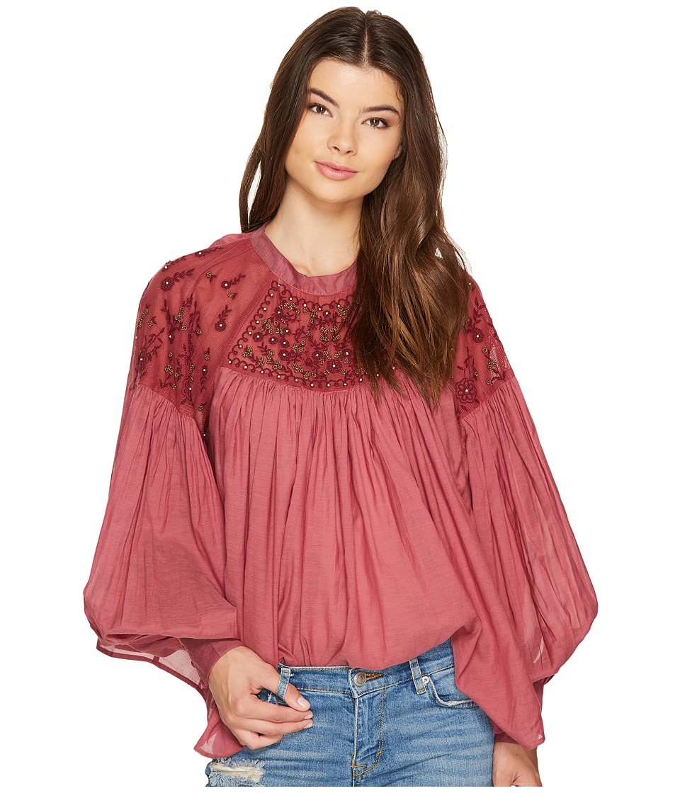Free People - Have It My Way Embroidered Top (Mulberry) Women's Clothing