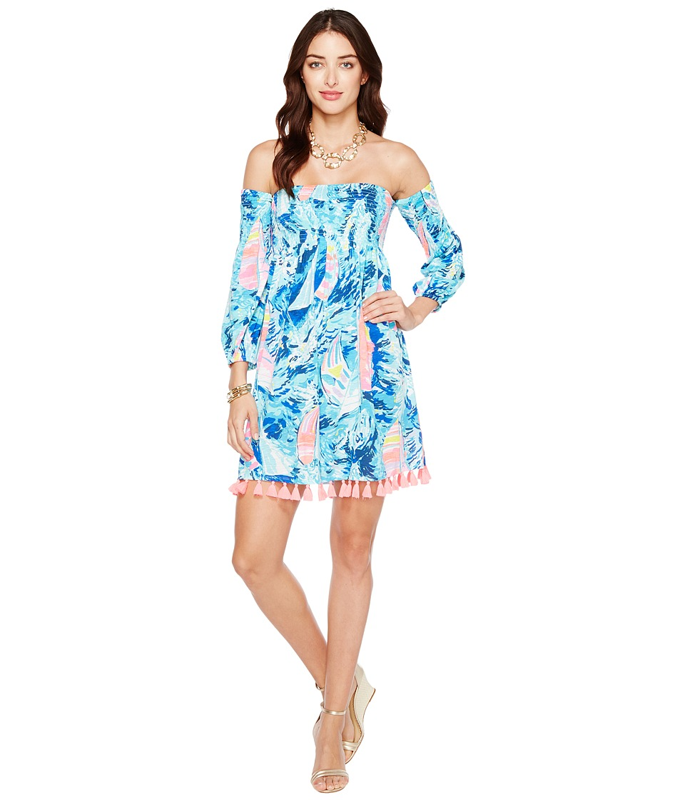 Lilly Pulitzer - Trina Beach Dress (Sparkling Blue Hey Bay Bay) Women's Dress