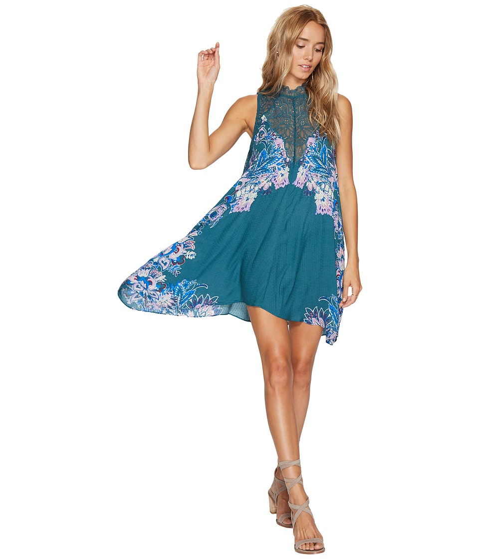 Free People - Marsha Printed Slip Dress (Green) Women's Dress
