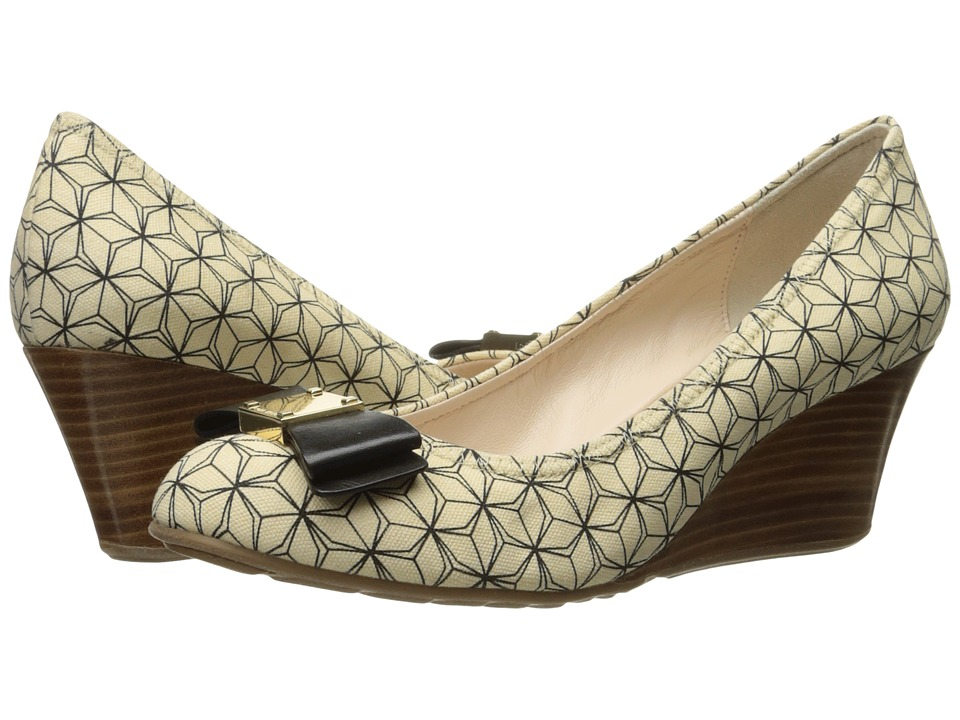 Cole Haan - Tali Grand Bow Wedge 65 (Ivory/Black Prism Print) Women's Wedge Shoes