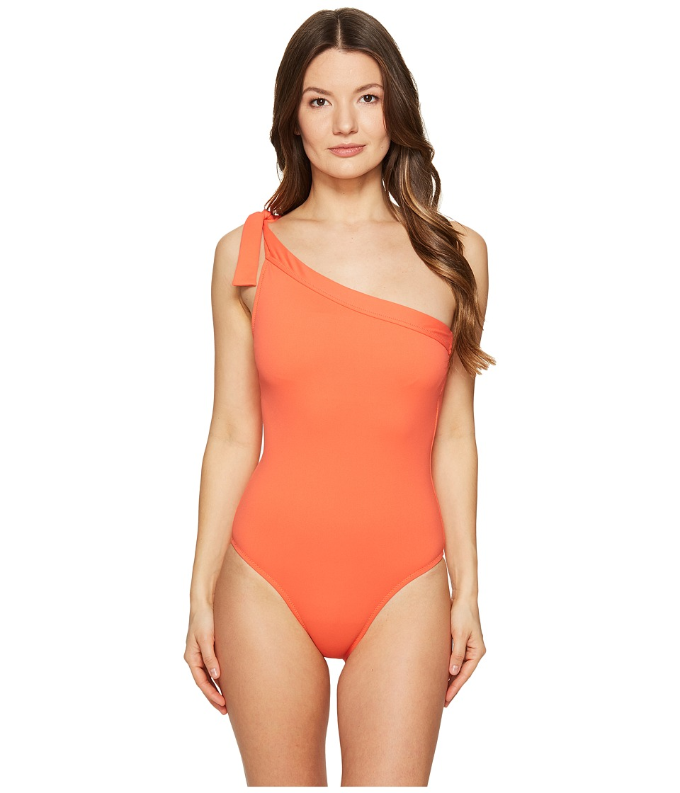 Letarte One Shoulder One-Piece (Hot Coral) Women