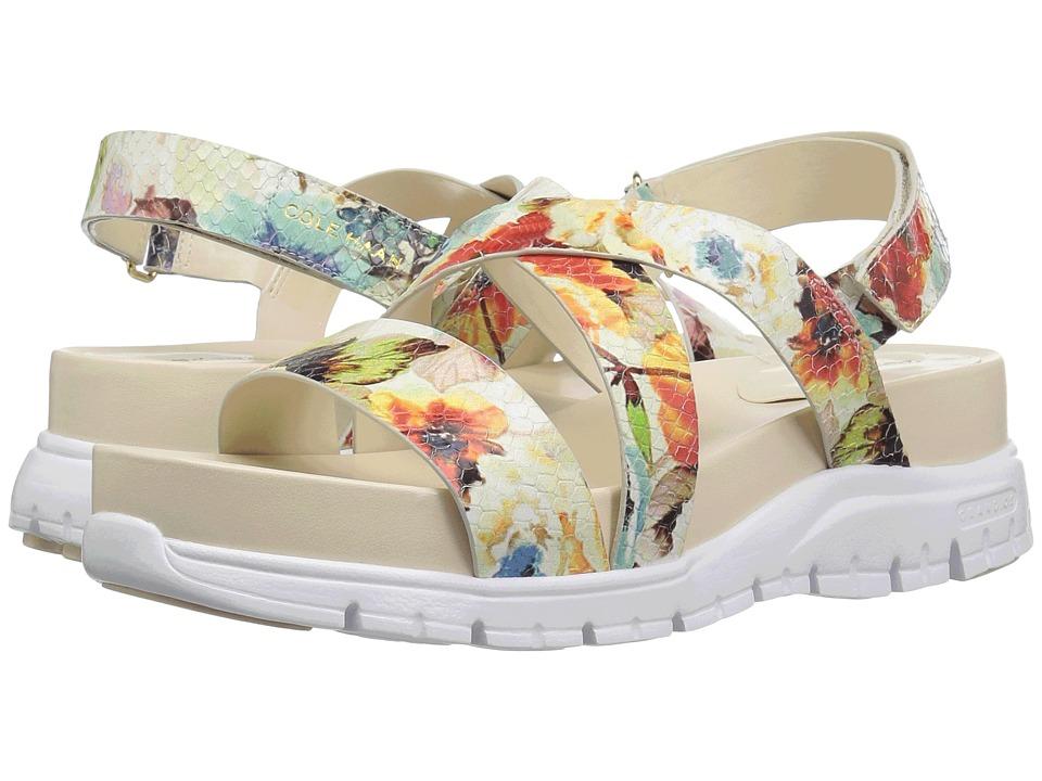 Cole Haan - Zerogrand Crisscross Sandal (Bds) (Floral Print/Optic White) Women's Shoes