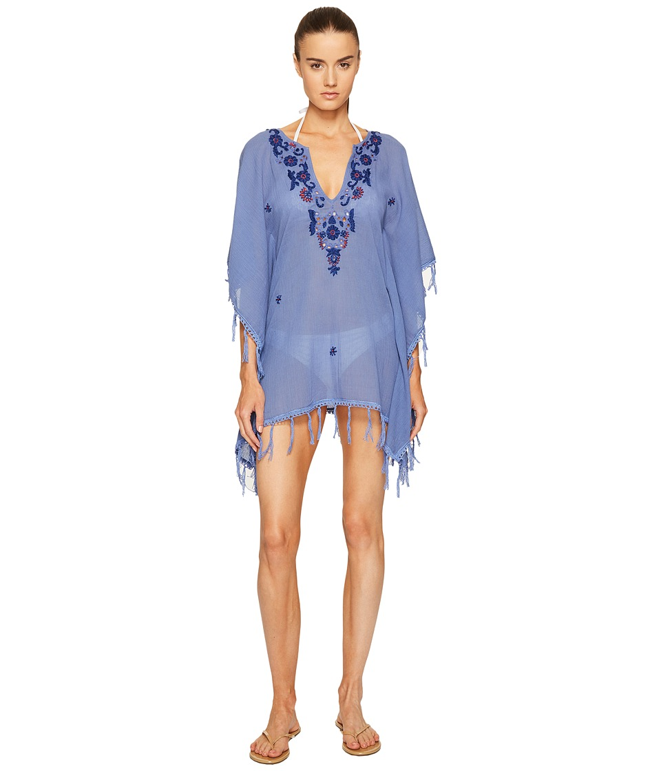 Letarte - Embroidered Poncho (Bleached Denim) Women's Swimwear