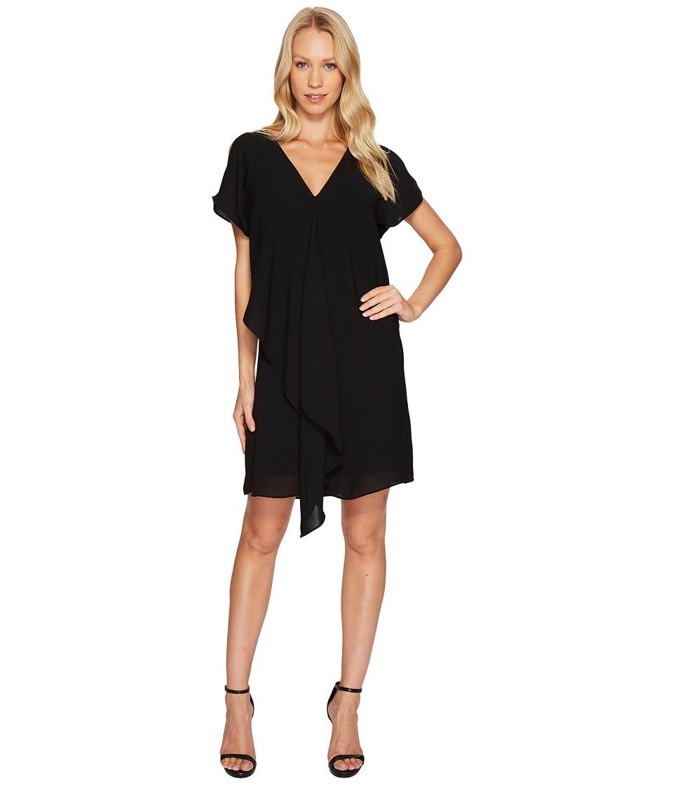 Adrianna Papell Cold Shoulder Asymmetrical Draped Dress (Black) Women