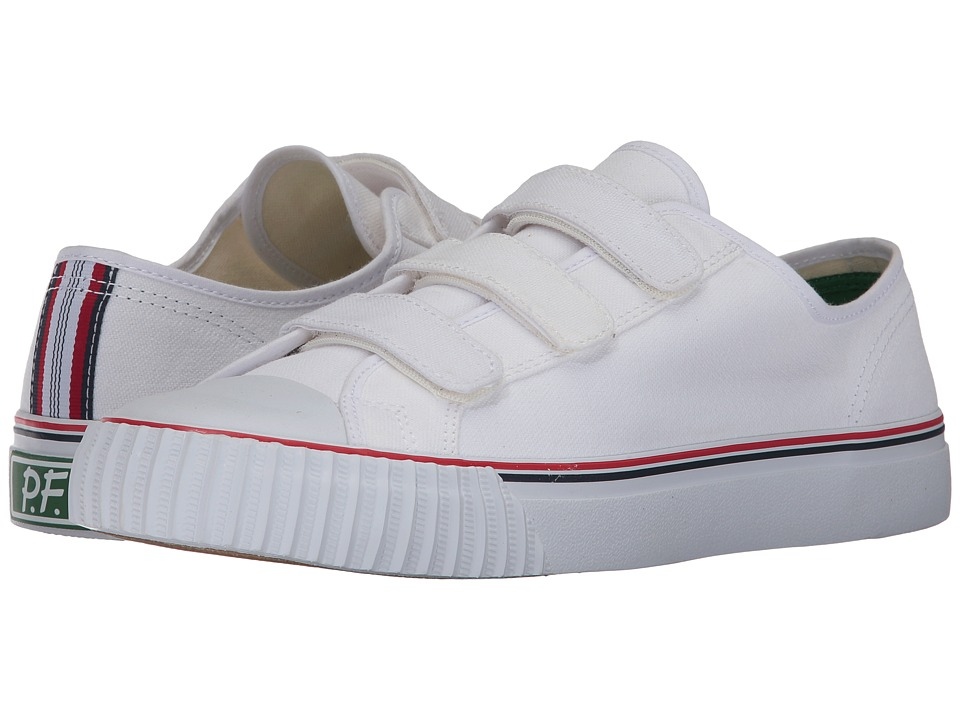 PF Flyers Center Lo Hook and Loop (White Canvas) Men