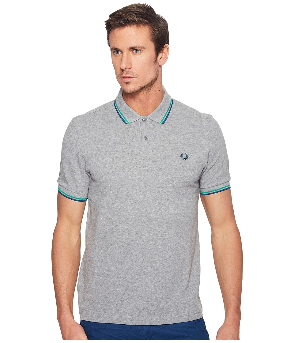 Fred Perry - Slim Fit Solid Plain Polo (Steel Blue/Emerald/Enamel Blue) Men's Short Sleeve Pullover
