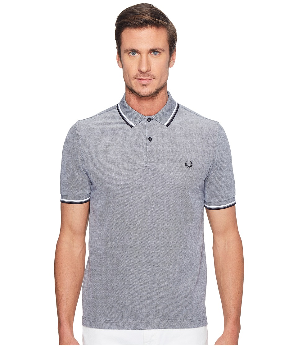 Fred Perry - Slim Fit Solid Plain Polo (Dark Carbon Oxford/White/Navy) Men's Short Sleeve Pullover