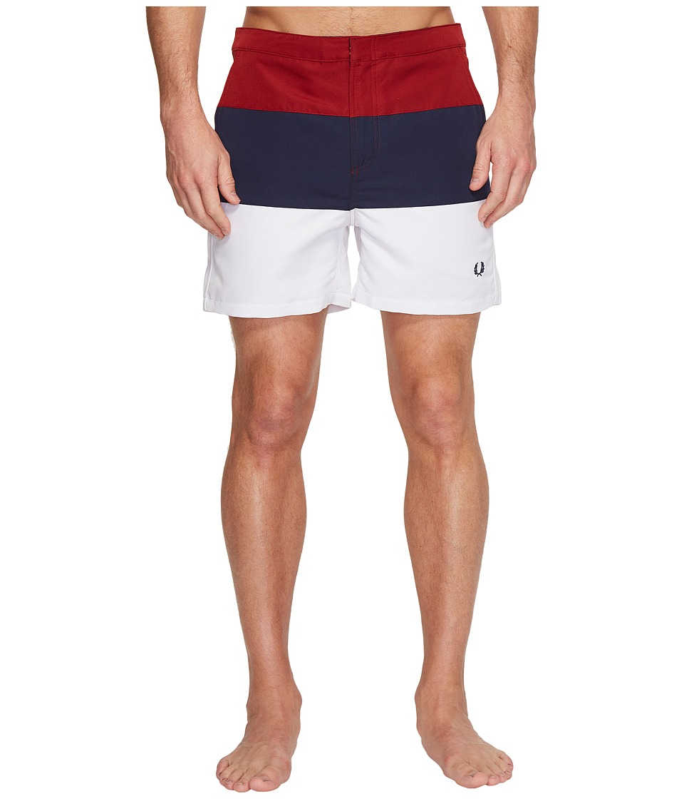 Fred Perry - Striped Panel Swimshorts (Rich Red) Men's Swimwear