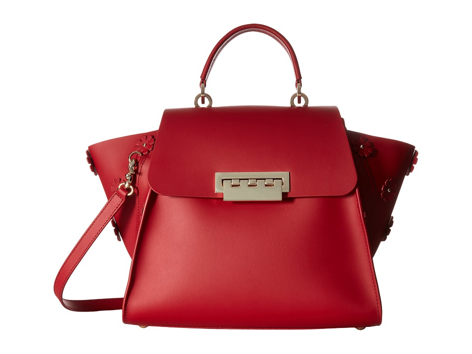 ZAC Zac Posen - Eartha Iconic Top-Handle Floral Applique (Red) Top-handle Handbags