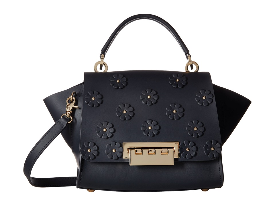 ZAC Zac Posen - Eartha Iconic Mini Top-Handle w/ Floral Applique (Blue) Top-handle Handbags
