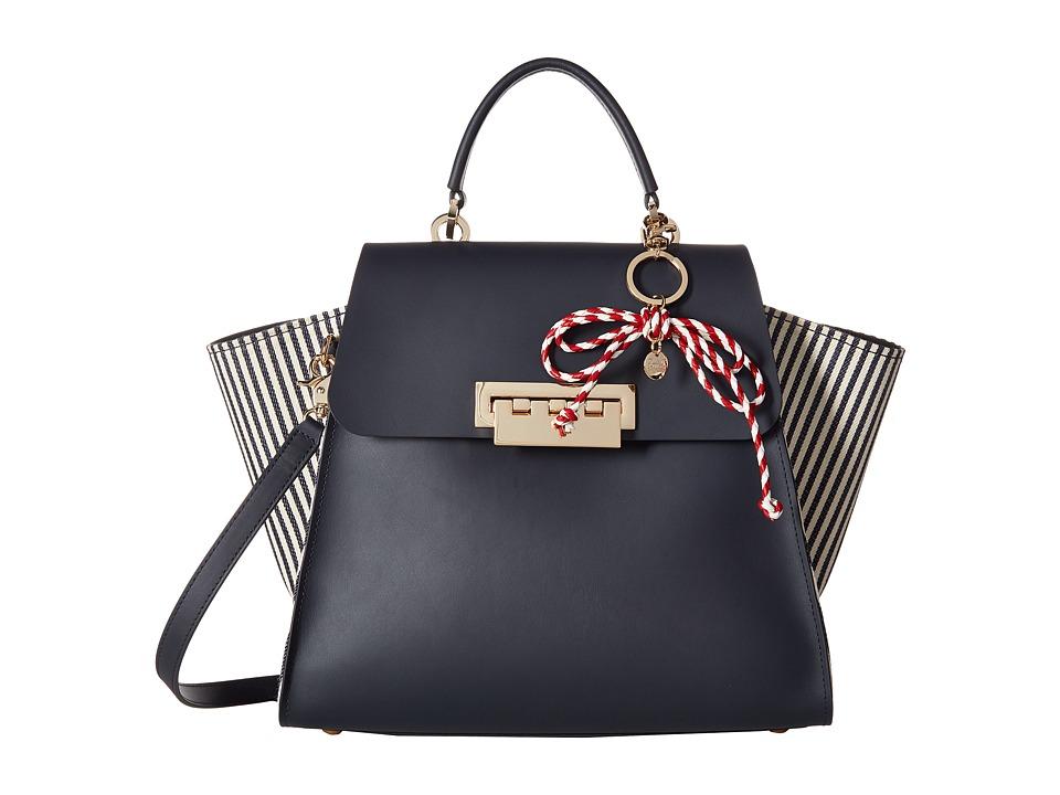 ZAC Zac Posen - Eartha Iconic Top-Handle Striped w/ Charm (Navy) Top-handle Handbags