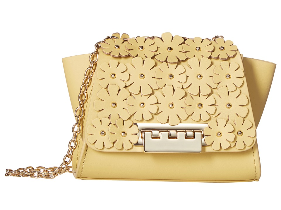 ZAC Zac Posen - Eartha Iconic Chain Crossbody w/ Floral Applique (Yellow) Cross Body Handbags