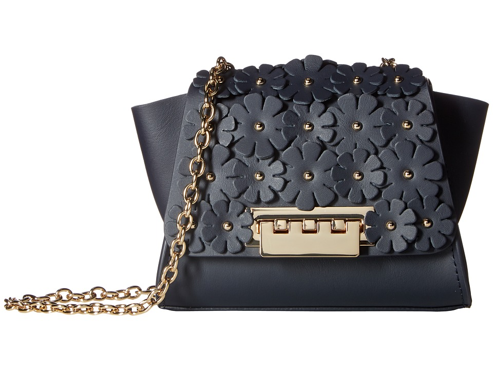 ZAC Zac Posen - Eartha Iconic Chain Crossbody w/ Floral Applique (Navy) Cross Body Handbags