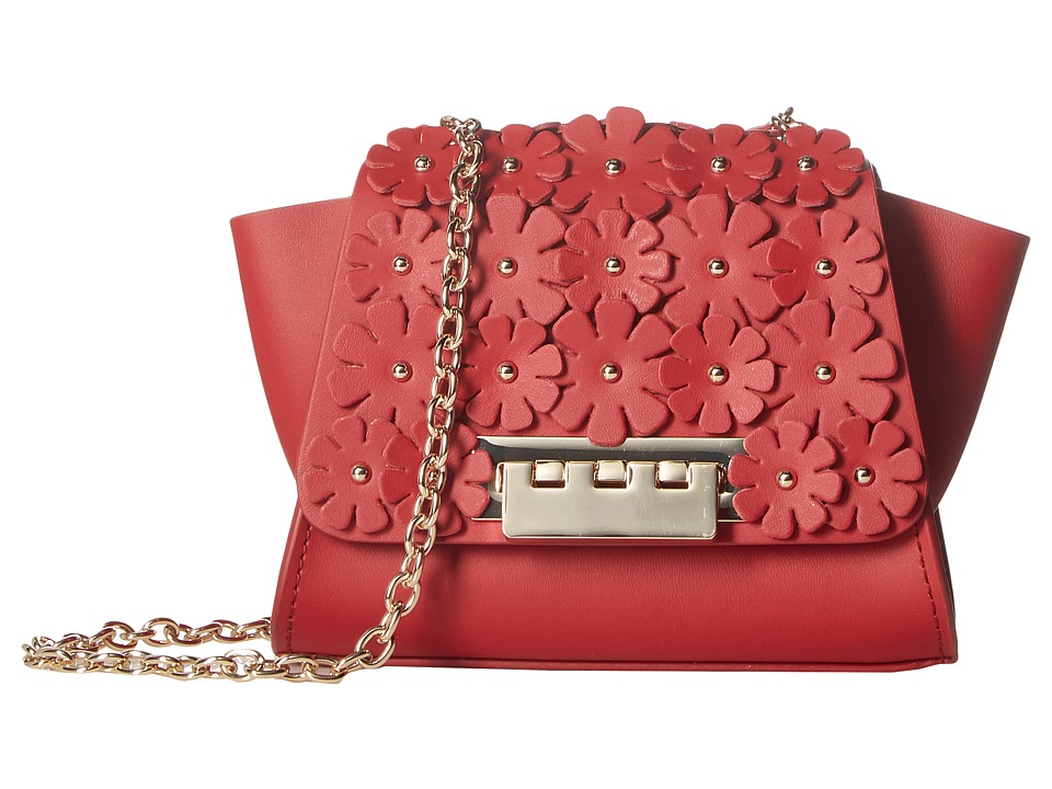 ZAC Zac Posen - Eartha Iconic Chain Crossbody w/ Floral Applique (Red) Cross Body Handbags