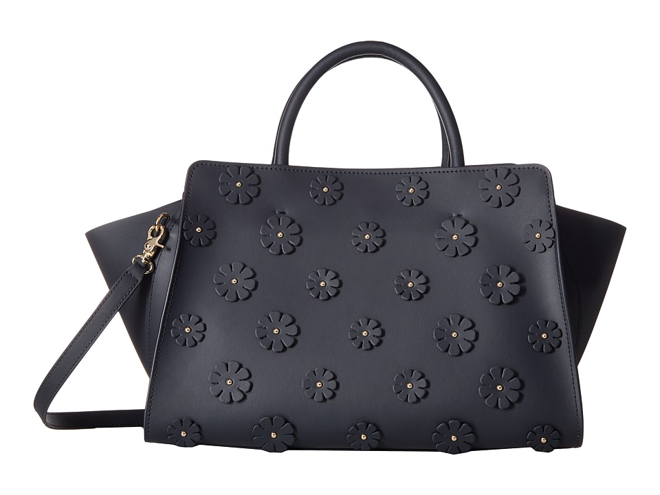 ZAC Zac Posen - Eartha Iconic East/West Shopper w/ Floral Applique (Navy) Tote Handbags