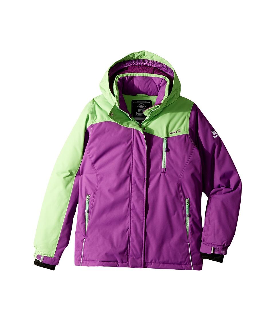 Kamik Kids Coco Colour Block Jacket (Little Kids/Big Kids) (Grape/Peppermint) Girl