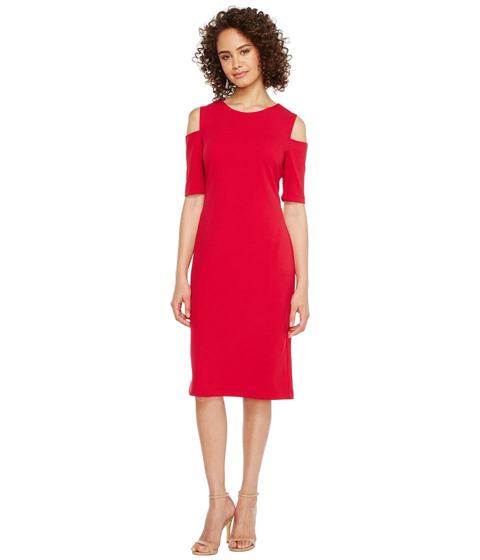 Christin Michaels Lexington Cold Shoulder Dress (Cerise) Women