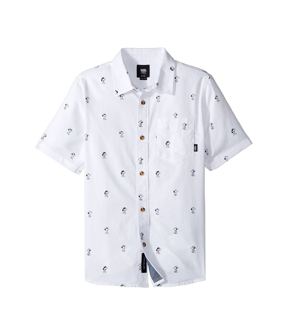 Vans Kids - Houser S/S X Peanuts (Big Kids) (White Peanuts) Boy's Short Sleeve Button Up