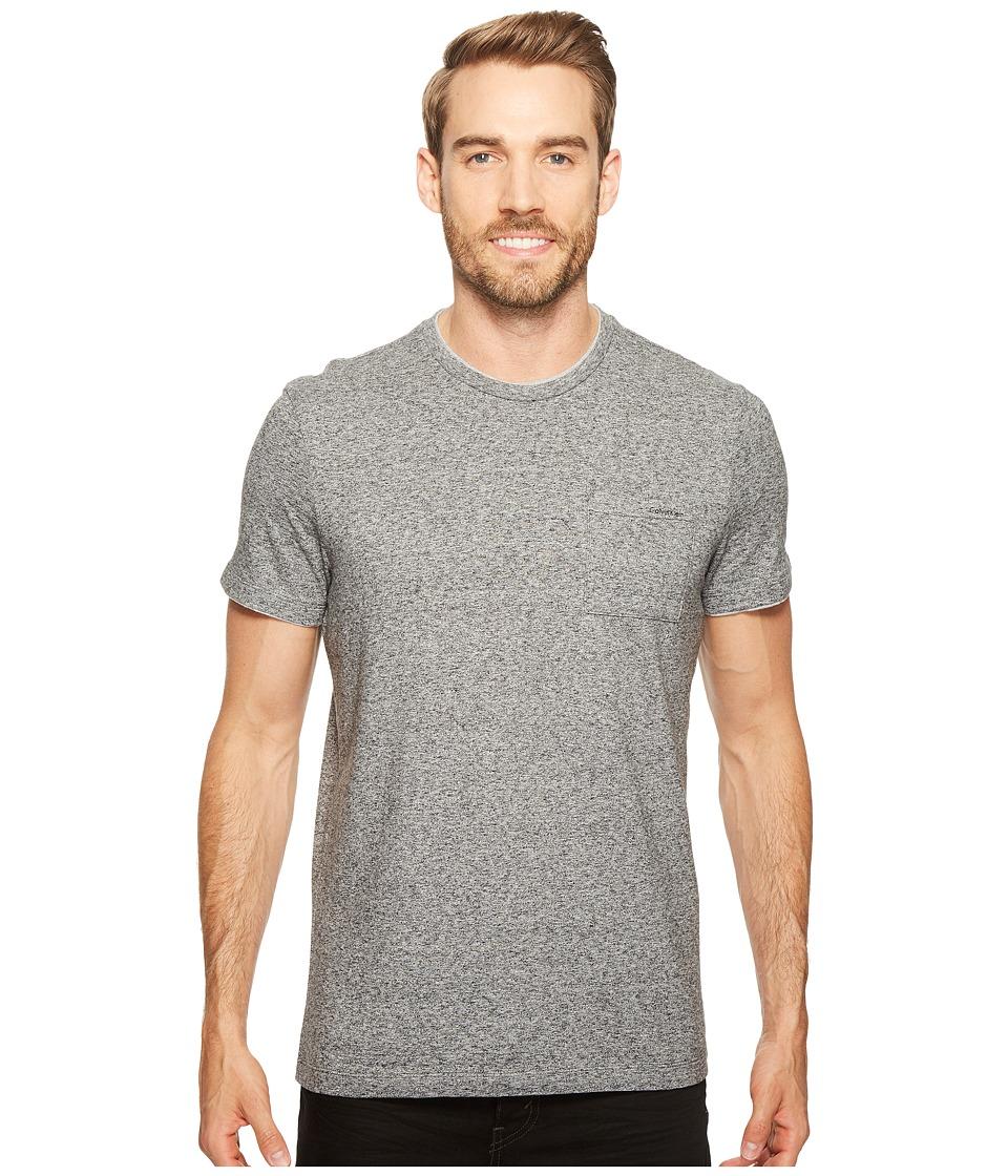 Calvin Klein - Faux Double Layer Crew Neck T-Shirt (Galaxy Heather) Men's T Shirt