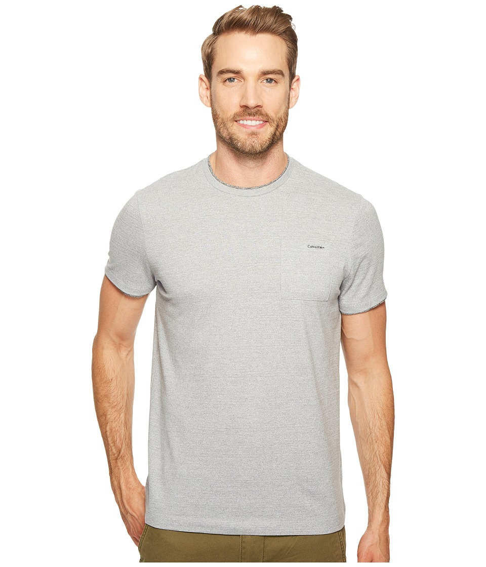 Calvin Klein - Faux Double Layer Crew Neck T-Shirt (Silver Steel Heather) Men's T Shirt