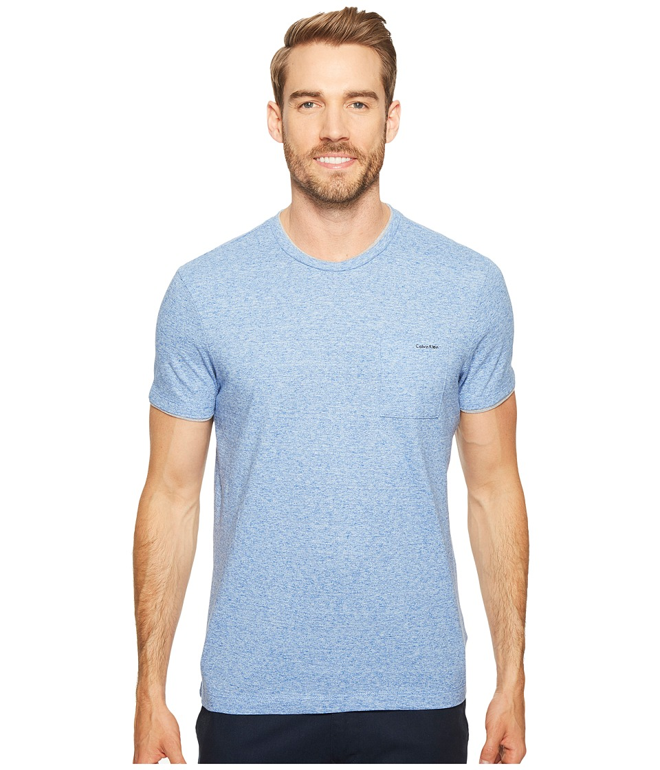Calvin Klein - Faux Double Layer Crew Neck T-Shirt (Indigo Sky Heather) Men's T Shirt