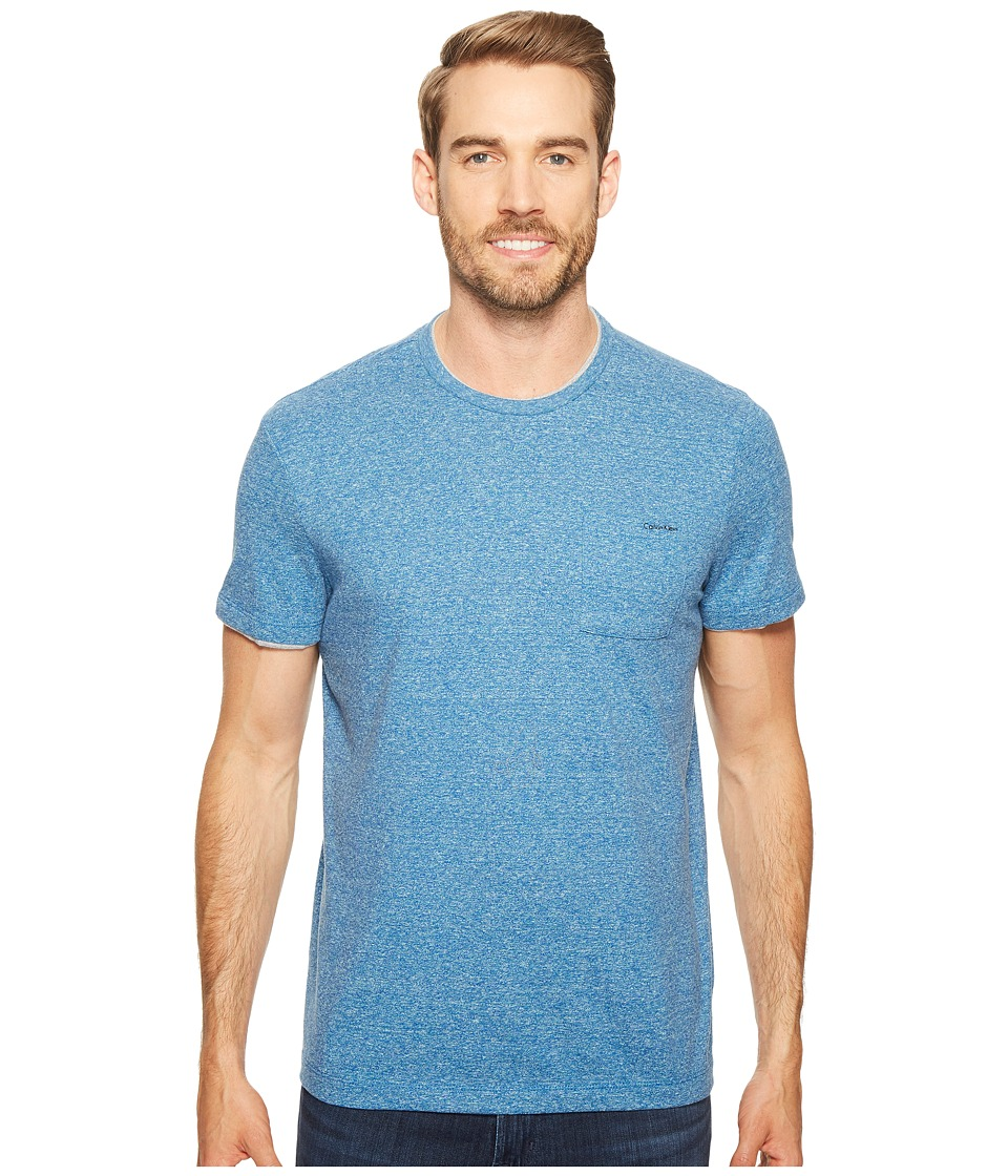 Calvin Klein - Faux Double Layer Crew Neck T-Shirt (Core Blue Heather) Men's T Shirt