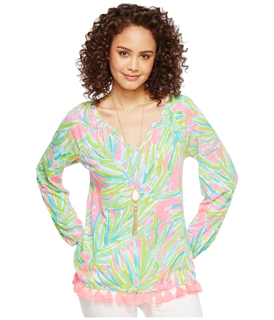 Lilly Pulitzer - Linzy Top (Tiki Pink Royal Lime) Women's Clothing