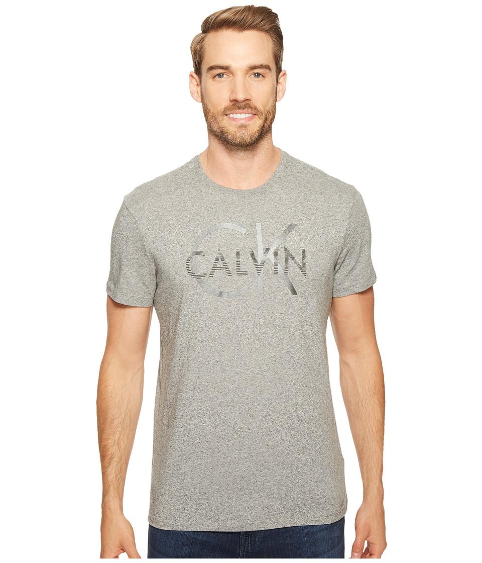 Calvin Klein - Hood Split Logo Graphic T-Shirt (Meteor Ash Heather) Men's T Shirt