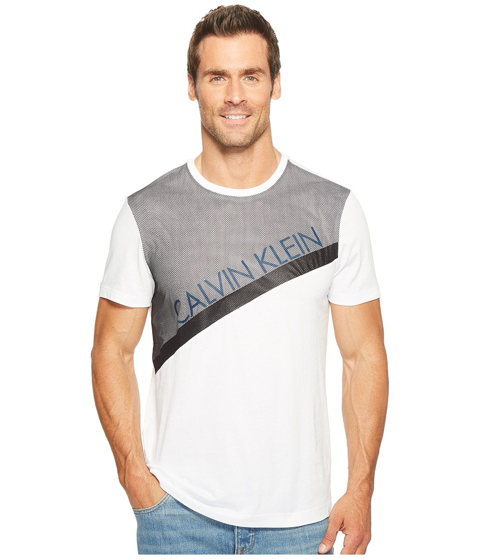 Calvin Klein - Mesh Paneled Crew Neck T-Shirt (White Wash) Men's T Shirt