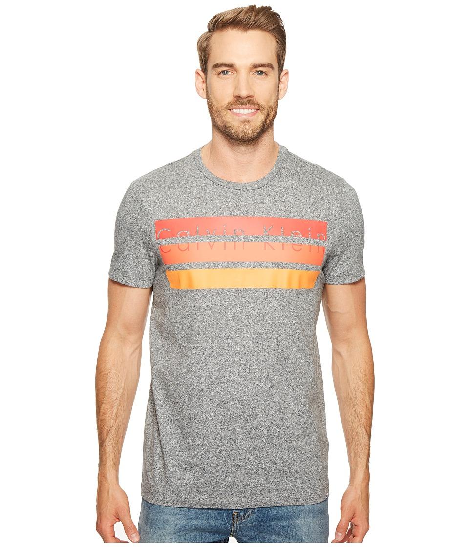 Calvin Klein - Knockout Logo Stripe T-Shirt (Meteor Ash Heather) Men's T Shirt