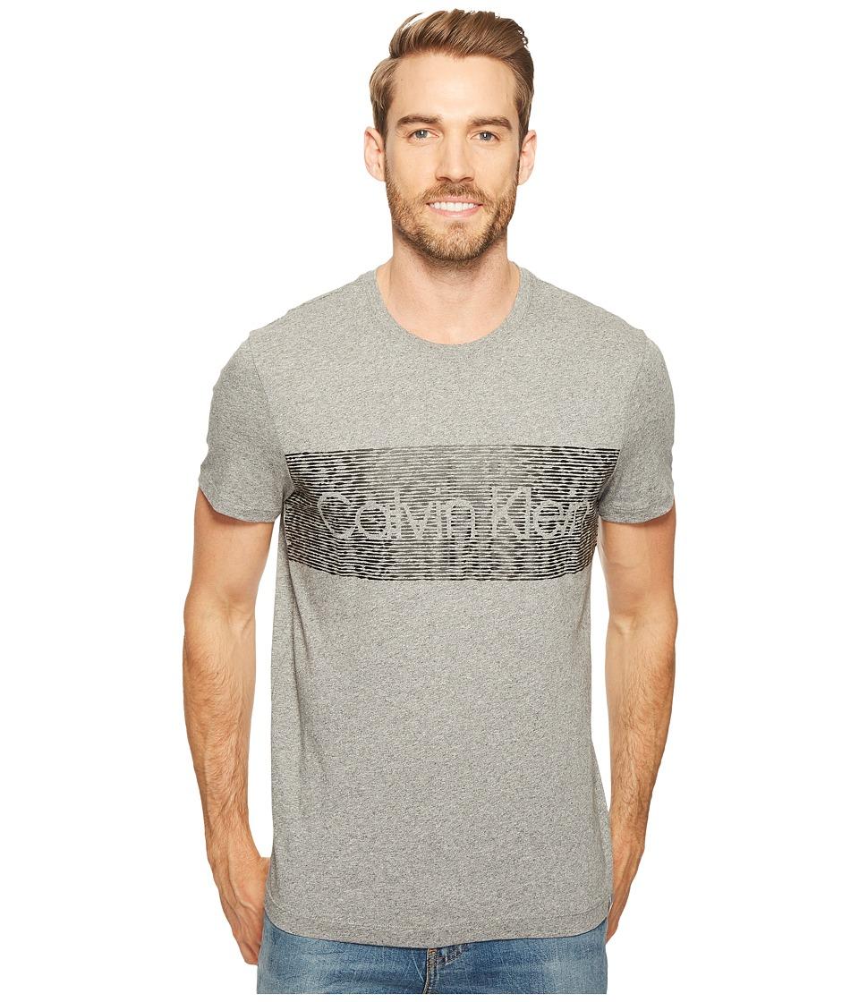 Calvin Klein - Dash Logo Crew Neck T-Shirt (Meteor Ash Heather) Men's T Shirt