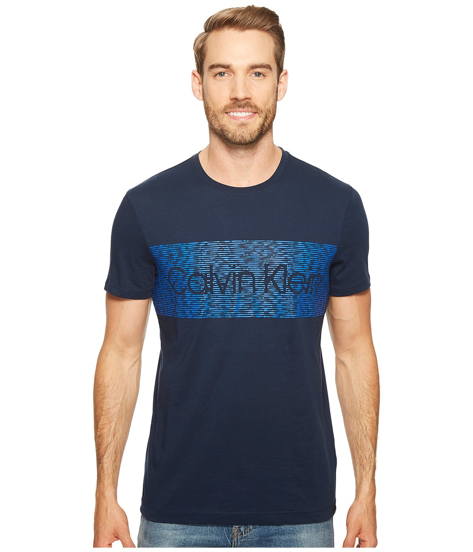 Calvin Klein - Dash Logo Crew Neck T-Shirt (Atlantis) Men's T Shirt