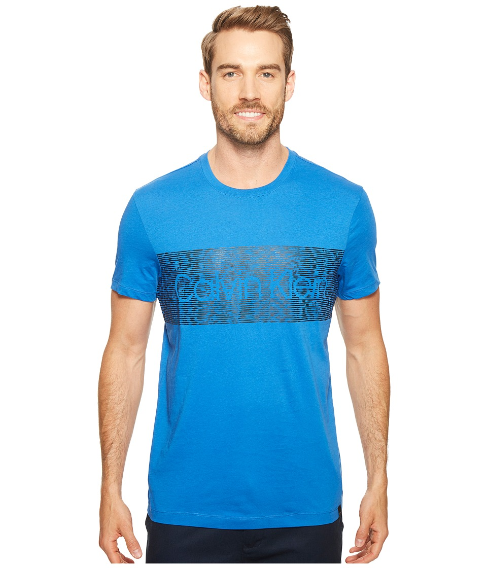 Calvin Klein - Dash Logo Crew Neck T-Shirt (Strong Blue) Men's T Shirt