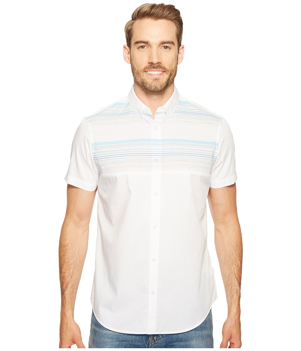 Calvin Klein - Pieced Horizontal Stripe Button Down Shirt (White) Men's Short Sleeve Button Up