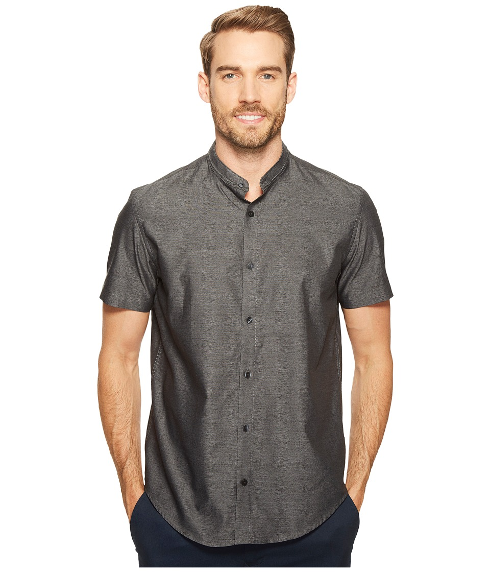 Calvin Klein - Band Collar Jaspe Button Down Shirt (Black) Men's Short Sleeve Button Up