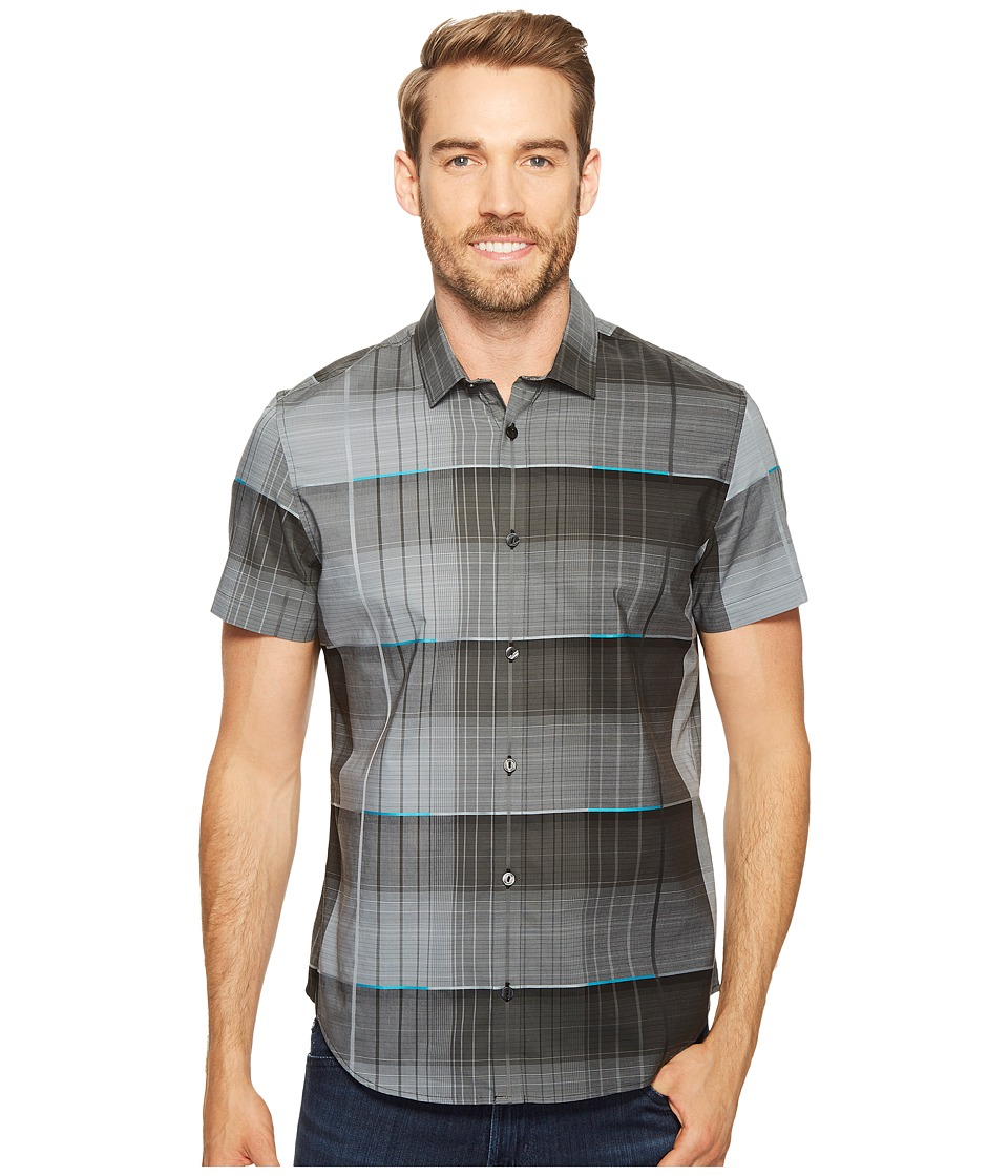 Calvin Klein - Blown-Up Dynamic Plaid Button Down Shirt (Iron Gate) Men's Short Sleeve Button Up