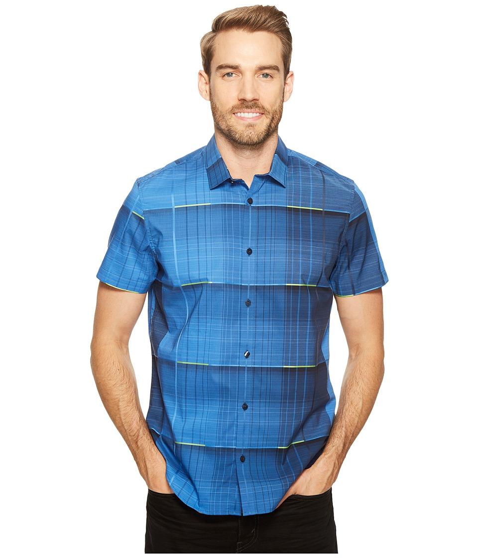 Calvin Klein - Blown-Up Dynamic Plaid Button Down Shirt (Mykonos Blue) Men's Short Sleeve Button Up