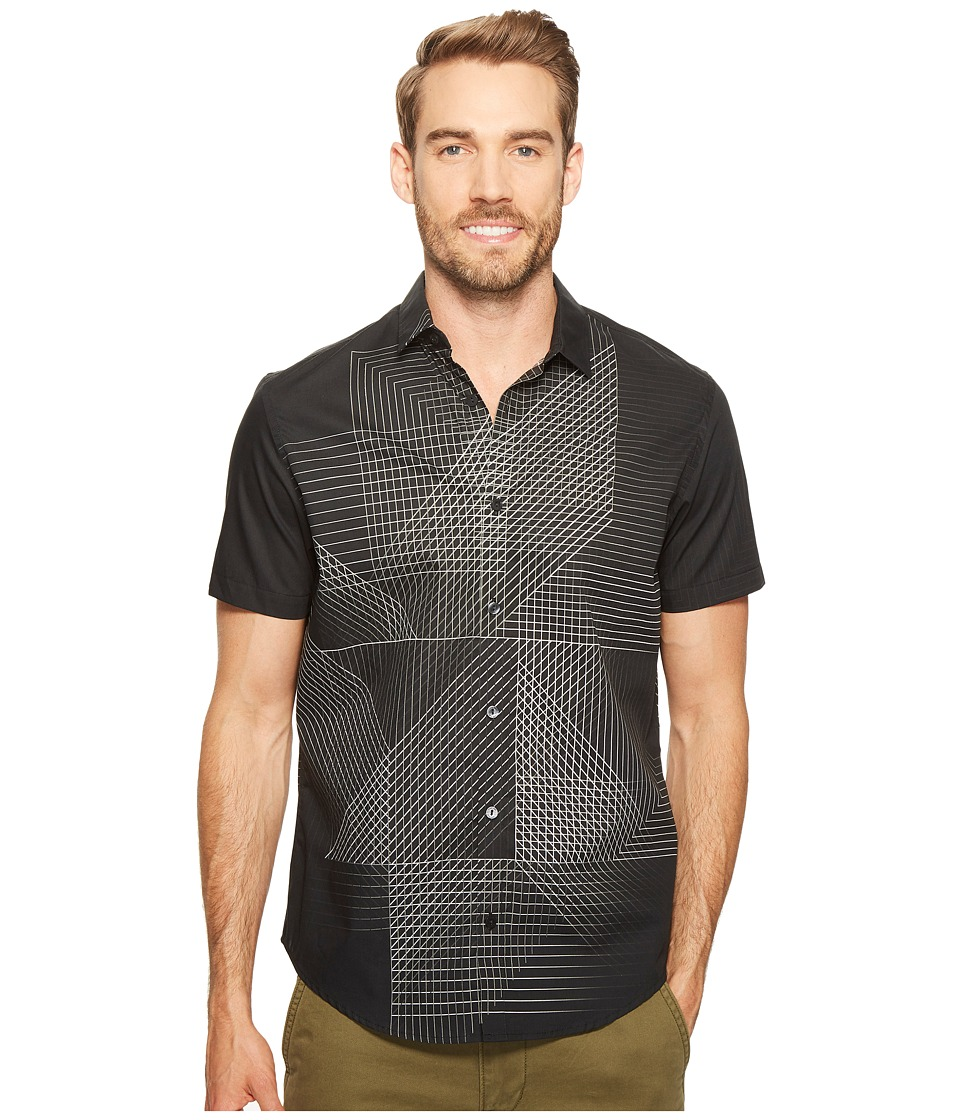 Calvin Klein - 3D Linear Print Button Down Shirt (Black) Men's Short Sleeve Button Up