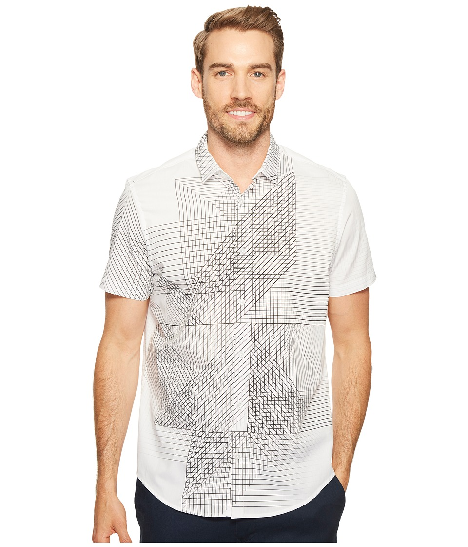 Calvin Klein - 3D Linear Print Button Down Shirt (White) Men's Short Sleeve Button Up