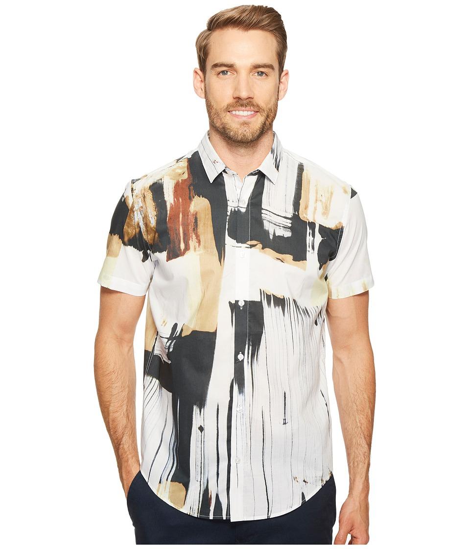 Calvin Klein - Hand-Painted Print Button Down Shirt (Raw Sugar) Men's Short Sleeve Button Up