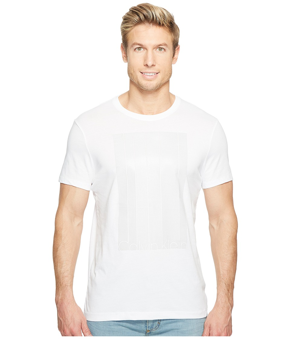 Calvin Klein - Mesh Stripe Logo T-Shirt (White Wash) Men's T Shirt