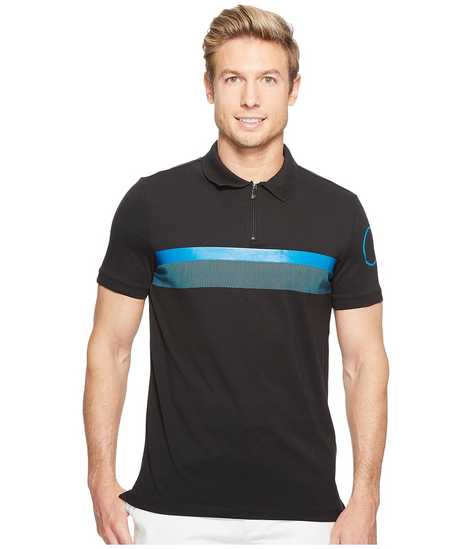 Calvin Klein - Printed Stripe Zip Polo Shirt (Black) Men's Short Sleeve Pullover
