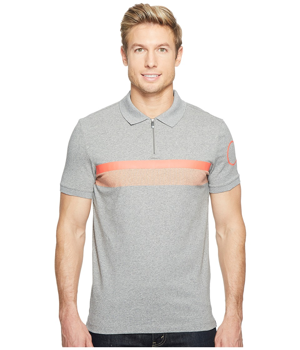 Calvin Klein - Printed Stripe Zip Polo Shirt (Meteor Ash Heather) Men's Short Sleeve Pullover