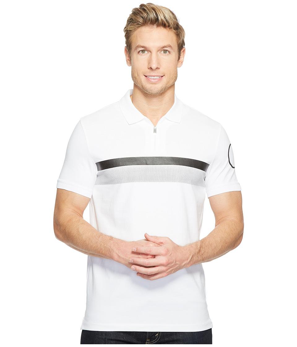 Calvin Klein - Printed Stripe Zip Polo Shirt (White Wash) Men's Short Sleeve Pullover