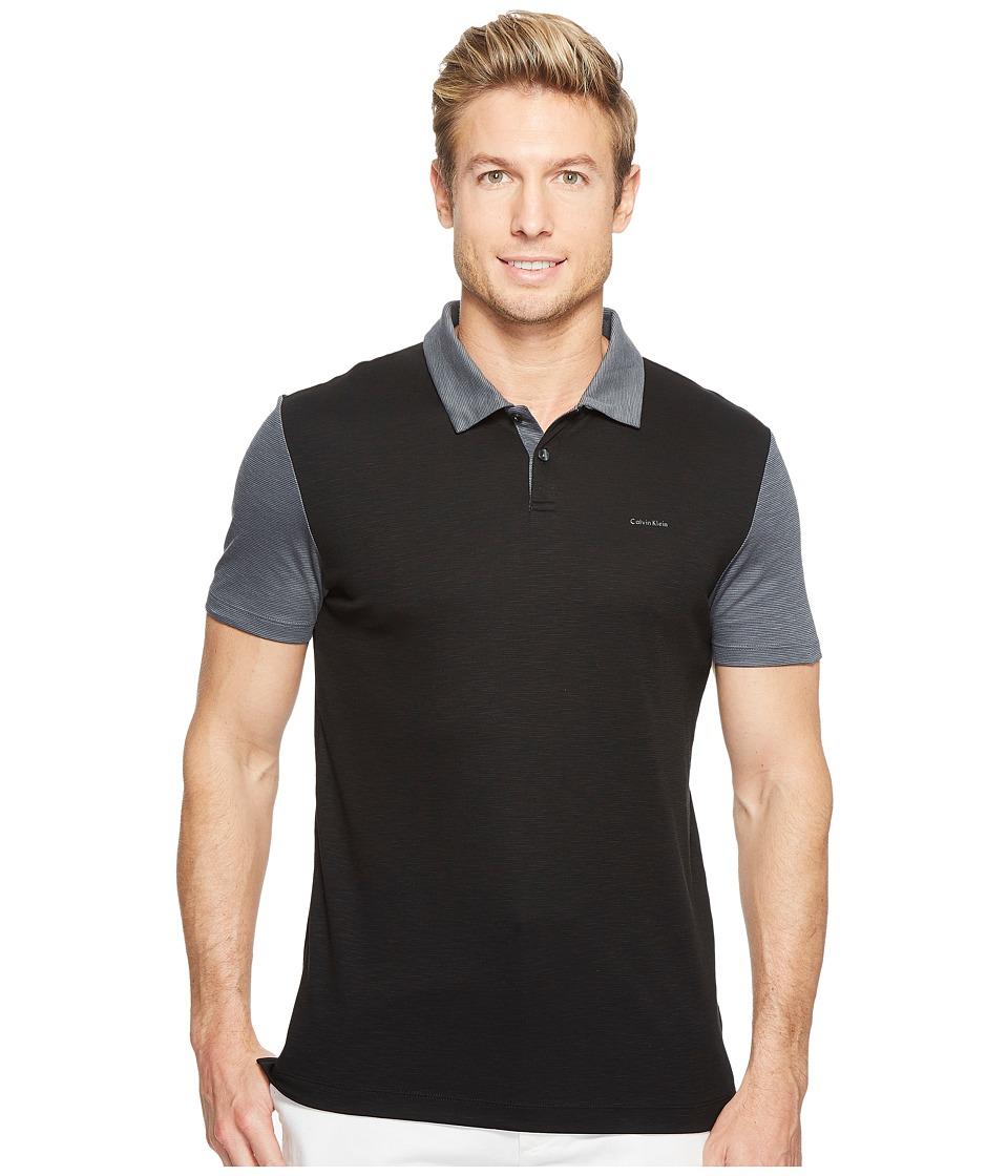 Calvin Klein - Color Block Lyocel Polo Shirt (Black) Men's Short Sleeve Pullover
