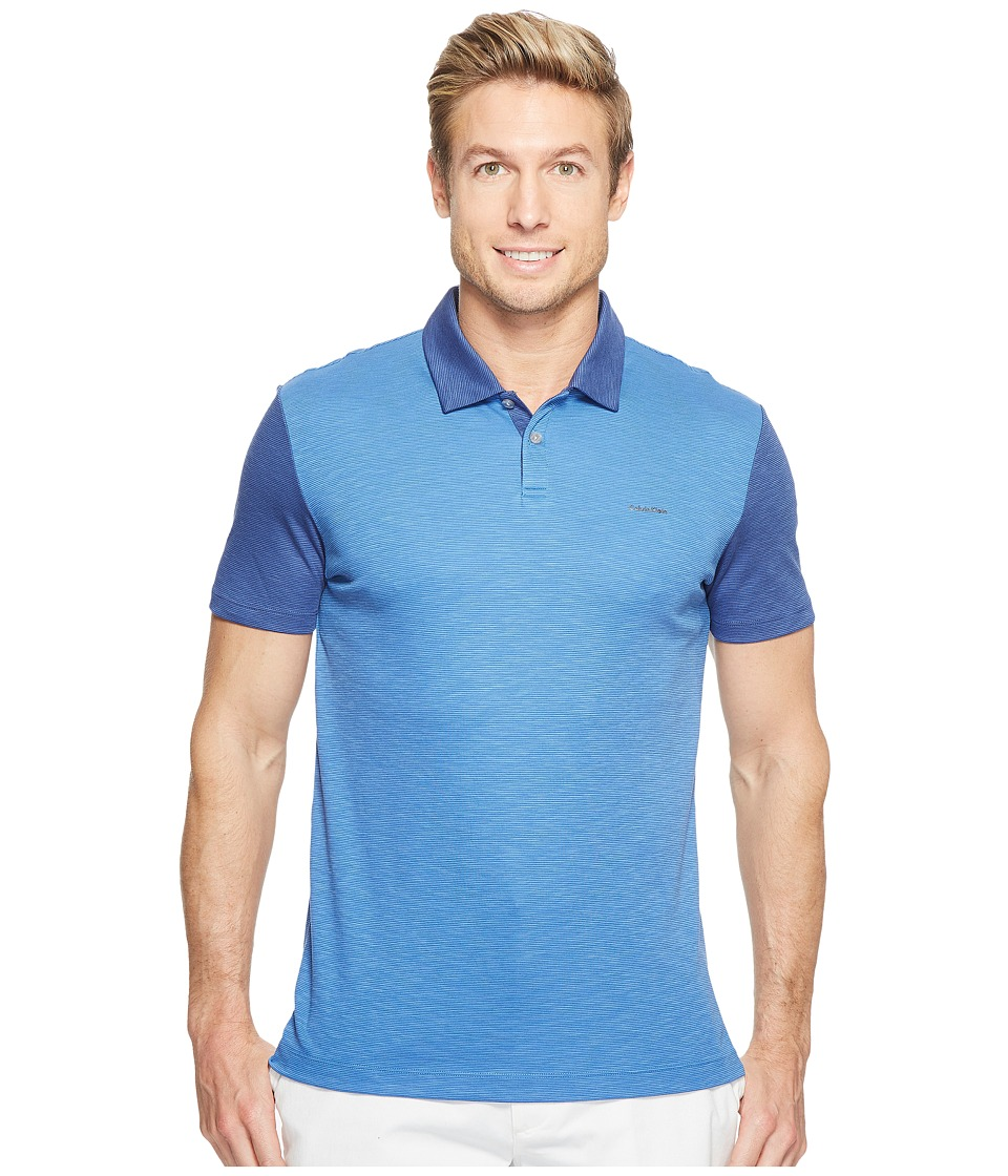 Calvin Klein - Color Block Lyocel Polo Shirt (Sharp Sky) Men's Short Sleeve Pullover