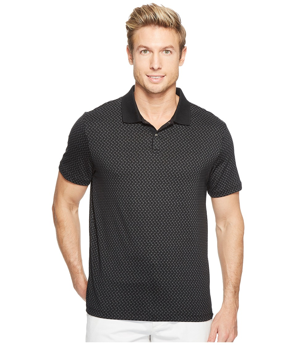 Calvin Klein - All Over Printed CK Logo Polo Shirt (Black) Men's Short Sleeve Pullover