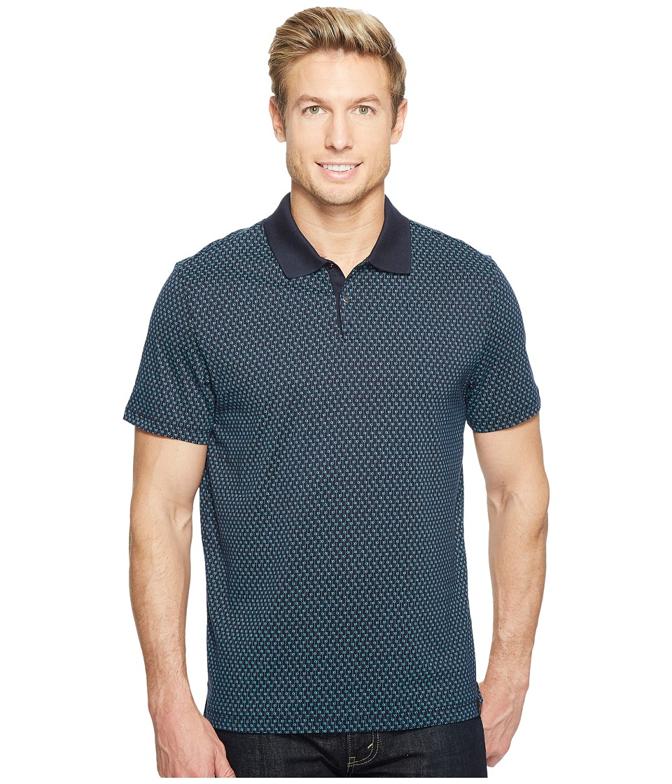 Calvin Klein - All Over Printed CK Logo Polo Shirt (Cadet Navy) Men's Short Sleeve Pullover